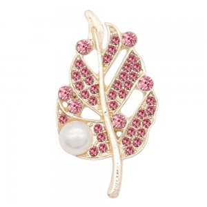 Leaves 20MM  snap Gold Plated with Pink rhinestone and pearls KC9121  snaps jewelry