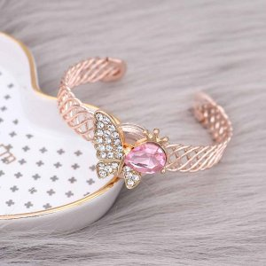 Butterfly 20MM Snap Gold Plated mit Pink Strass KC9130 Snaps Schmuck