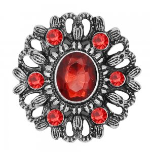 20MM  snap Silver Plated with red rhinestone KC9154 snaps jewelry