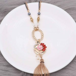 Ostrich 20MM snap Plated gold plating  With  rhinestones pearls enamel KC9148 snaps jewelry