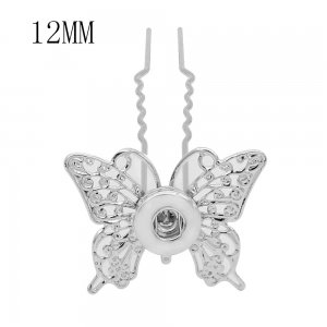Butterfly hairpin snap sliver Pendant   fit 12MM snaps style jewelry KS0375-S