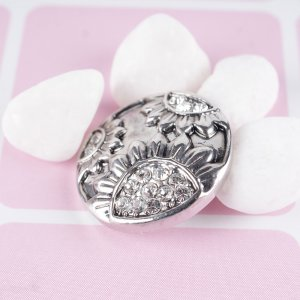 20MM Sunflower  snap Antique silver  plated DS5124  with clear Rhinestone interchangeable snaps jewelry