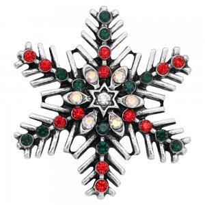 Christmas 20MM  snowflake snap Silver Plated with Red and Green rhinestone KC8054 snaps jewelry