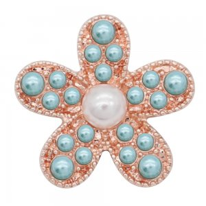 20MM Starfish snap Rose Gold with Green Pearl KC8058 snaps jewelry