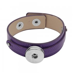 1 buttons purple Genuine leather KC0895 Watch bracelets fit 20MM snaps chunks