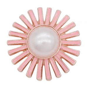 20MM Flowers snap Plated with White Pearl Pink Drop oil KC8048 snaps jewelry