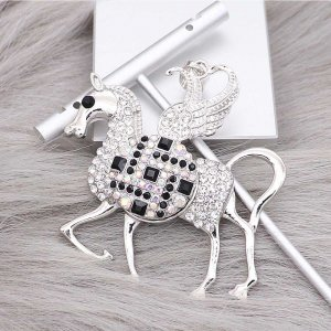 Horse snap sliver Pendant With white rhinestones fit 20MM snaps style jewelry KC0470