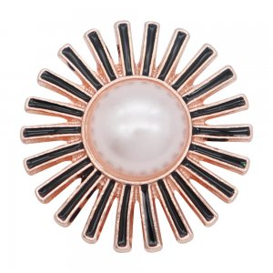 20MM Flowers snap Plated con White Pearl Black Drop oil KC8049 broches de joyería