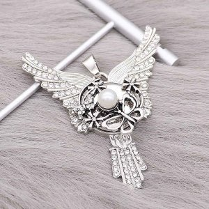 20MM Butterfly snap Plated with White rhinestone And pearls KC9200 snaps jewelry