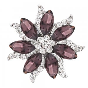 20MM  snap Silver Plated with purple rhinestone KC8062 snaps jewelry