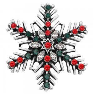 Christmas 20MM  snowflake snap Silver Plated with Red and Green rhinestone KC8053 snaps jewelry
