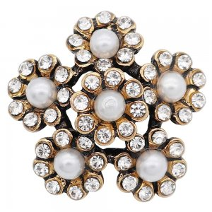 20MM pearl snap Golden Plated with rhinestone and pearl KC9186 snaps Charms