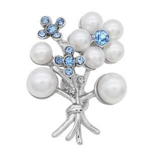 Flowers 20MM pearl snap Plated with Blue rhinestone and pearl KC8065 snaps Charms