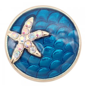20MM Starfish Snap Versilbert mit buntem Strass Drop Oil KC8041 Snaps Schmuck