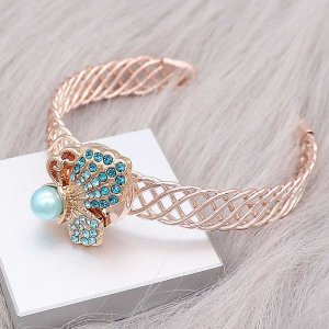 20MM  Butterfly Rose Gold snap Plated with Blue rhinestone Pearl inlay KC8046 snaps jewelry