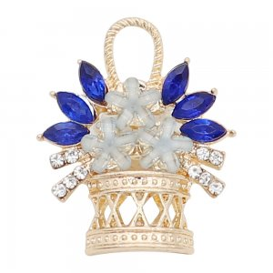 20MM a basket of flowers snap charms gold Plated with Blue rhinestone KC9199 snaps jewelry