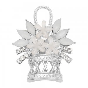 20MM a basket of flowers snap charms Plated with Rice white rhinestone KC9196 snaps jewelry