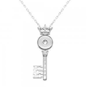 silver Key pendant Necklace with White rhinestones 60cm chain KC1312 fit 20MM chunks snaps jewelry