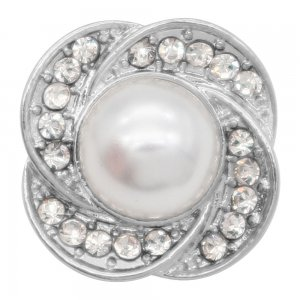 charms 20MM  snap Silver Plated with White rhinestone  Pearl inlay KC9213 snaps jewelry
