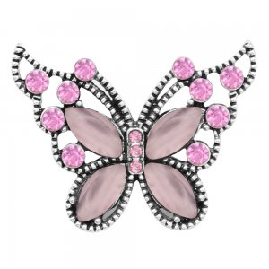 Butterfly 20MM snap charms Silver Plated with Pink rhinestone  KC9208 snaps jewelry