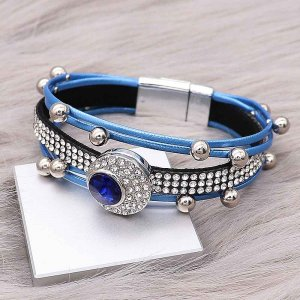 20MM design snap charms Silver Plated with Blue rhinestone  KC9206 snaps jewelry