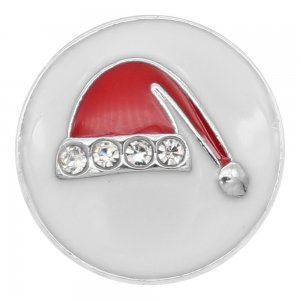 Christmas 20MM  Christmas hat charms snap Silver Plated with White  rhinestone  and enamel KC9202 snaps jewelry