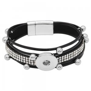 1 buttons Black leather with white rhinestone KC0503 new type Bracelet fit 20mm snaps chunks