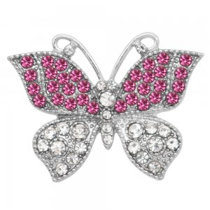 Schmetterling 20MM Snap Charms versilbert mit rosa Strass KC9211 Snaps Schmuck
