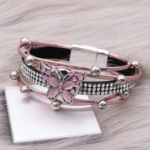 1 buttons Pink leather with white rhinestone KC0505 new type Bracelet fit 20mm snaps chunks