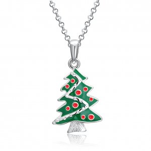 Christmas oil drop Christmas tree Necklace