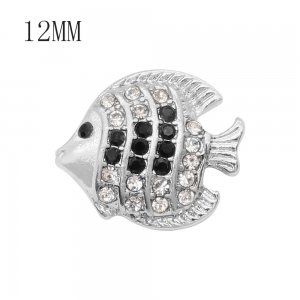 12MM design Fish metal snap with Black and white rhinestone KS7085-S snaps jewelry