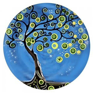 20MM  design Tree Painted enamel metal C5910 print  charms snaps jewelry