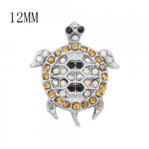 12MM design Tortoise metal charms snap with Yellow, white and black rhinestone KS7097-S snaps jewelry