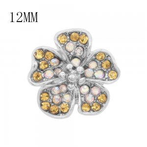 12MM design Flowers metal charms snap with Yellow rhinestone KS7099-S snaps jewelry