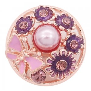 20MM flower snap Rose Gold with Pink rhinestone Pink  enamel With Pink pearls KC8074 charms  snaps jewelry