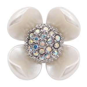 20MM flower snap with colorful rhinestone White pearls KC8082 charms snaps jewelry