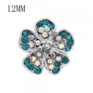 12MM design Flowers metal snap charms with Blue and colorful rhinestone KS7100-S snaps jewelry