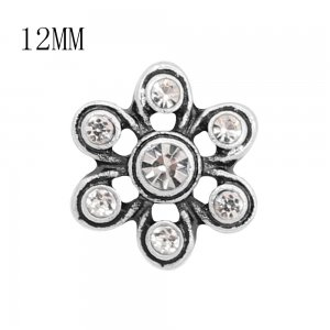 12MM design metal snap with White rhinestone KS7125-S charms snaps jewelry