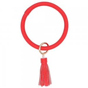 Red color leather Big ring bangle Key Ring Key Chain tassel bracel