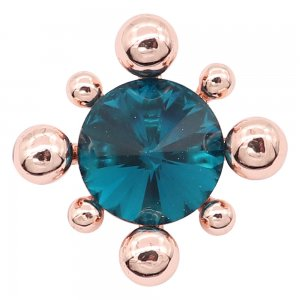 20MM  snap Rose Gold with Blue rhinestone charms KC8092 snaps jewelry