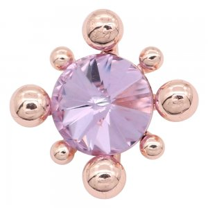 20MM  snap Rose Gold with purple rhinestone charms KC8090 snaps jewelry