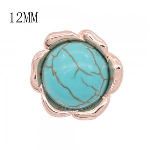 12MM design Rose Gold metal snap with Blue tophus KS7119-S charms snaps jewelry