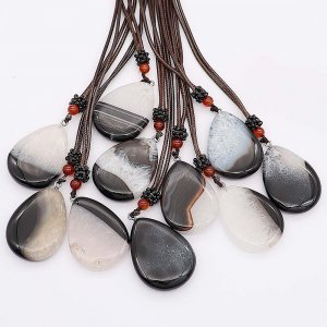 Natural Stone Necklace 10pcs/lot with 65cm Leather Chain