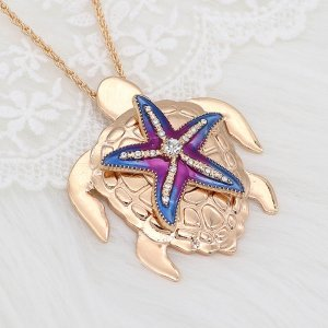20MM Starfish snap gold Plated with white Rhinestones and enamel charms KC9238 snaps jewerly
