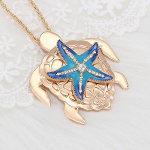 20MM Starfish snap gold Plated with white Rhinestones and enamel charms KC9240 snaps jewerly