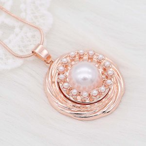 20MM design snap Rose Gold plated pearls charms KC8095 snaps jewelry