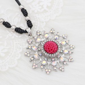 20MM Flowers snap silver Plated with rhinestone and red resin KC9235 charms snaps jewelry