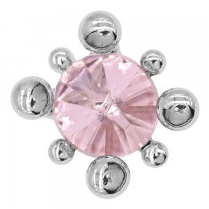 20MM Design Snap versilbert mit rosa Strass Charms KC8088 Snaps Schmuck