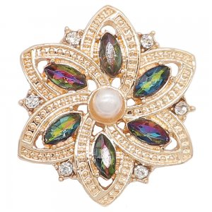 20MM flowers snap Gold Plated with colorful rhinestone And pearls KC9225 charms snaps jewelry