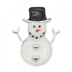 Christmas 20MM design Snowman Black and white enamel KC9255 snaps jewelry